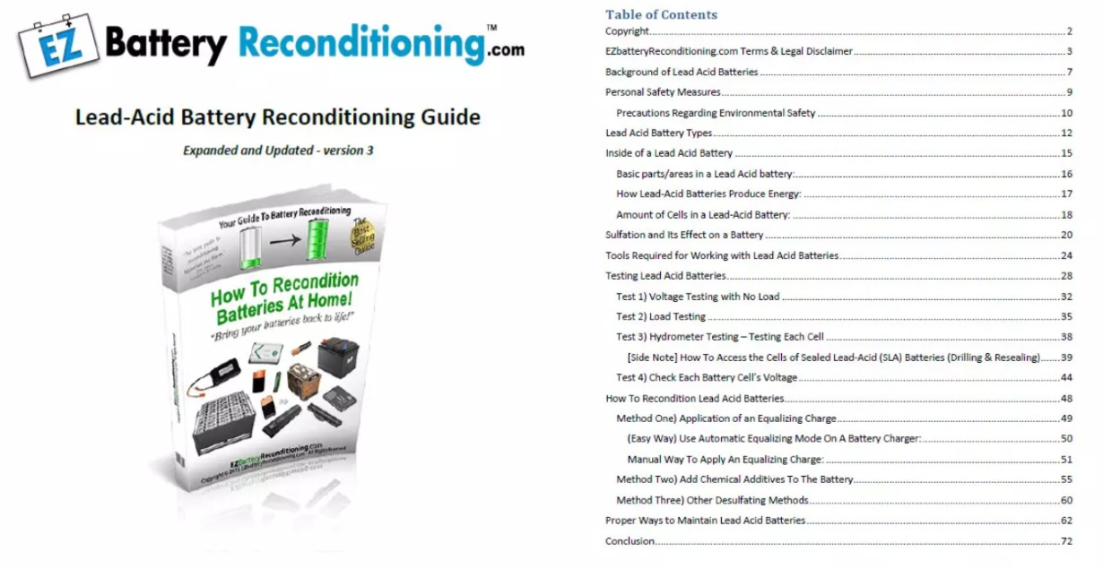 EZ Battery Reconditioning Table Of Contents