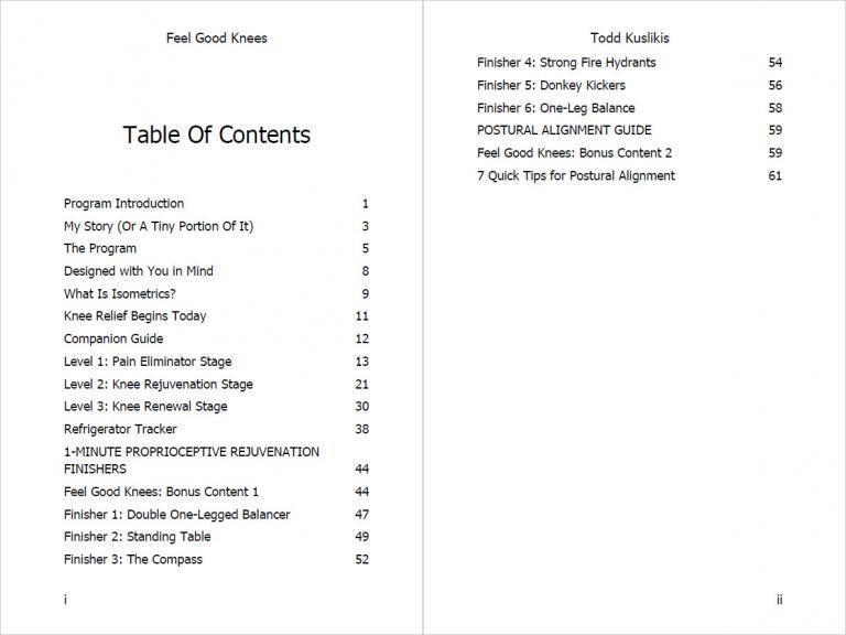 Feel Good Knees For Fast Pain Relief Table Of Contents