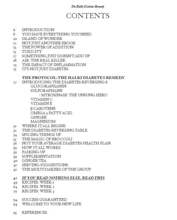 Halki Diabetes Remedy Table Of Contents