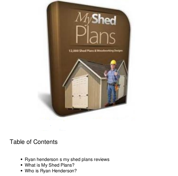 My Shed Plans Table Of Contents