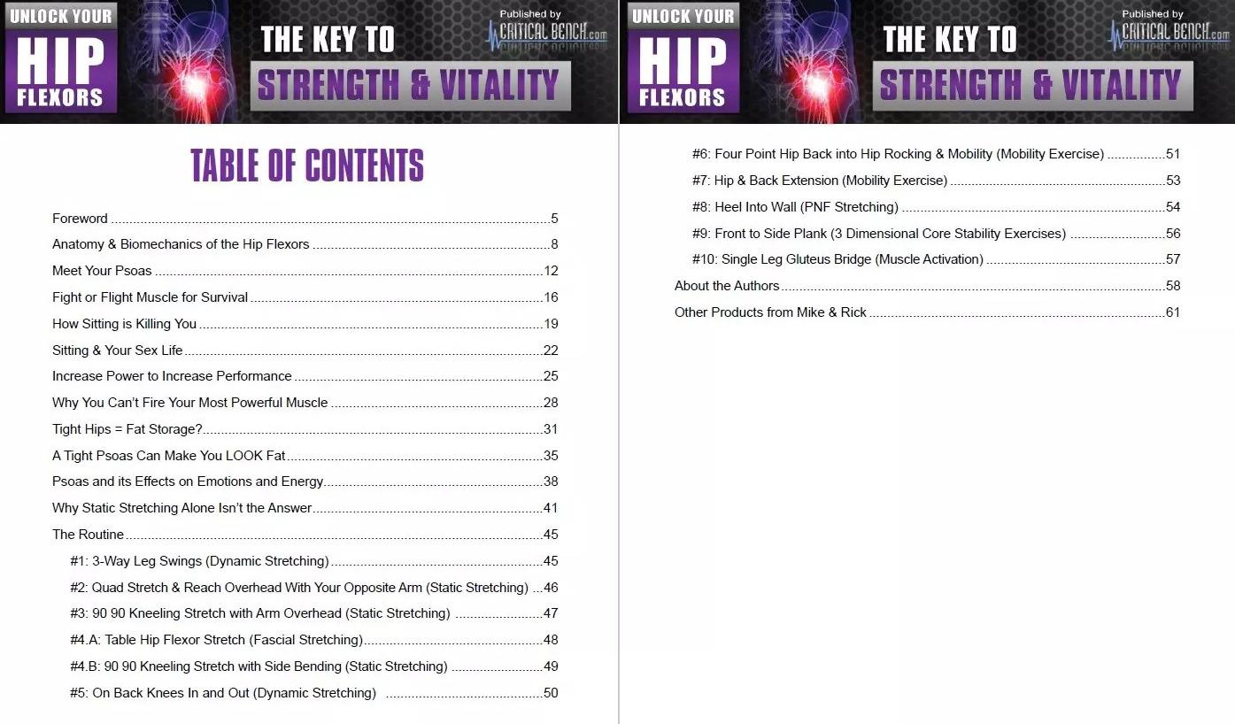 Unlock Your Hip Flexors Table of Contents