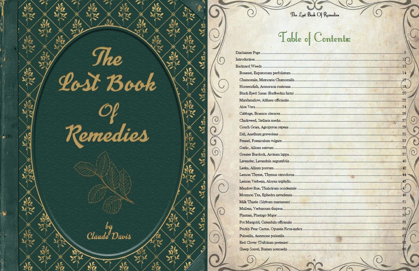 the lost book of remedies table of contents part 1