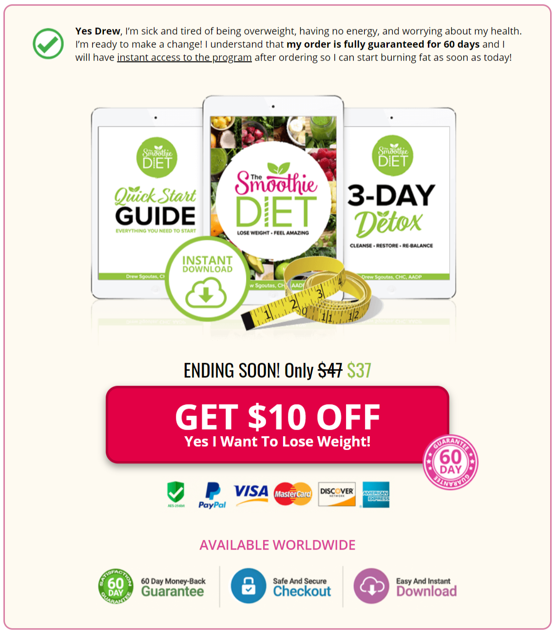the smoothie diet 21 day program order page