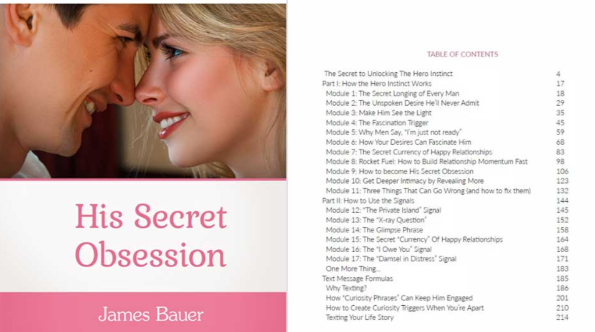 His Secret Obsession Table Of Contents