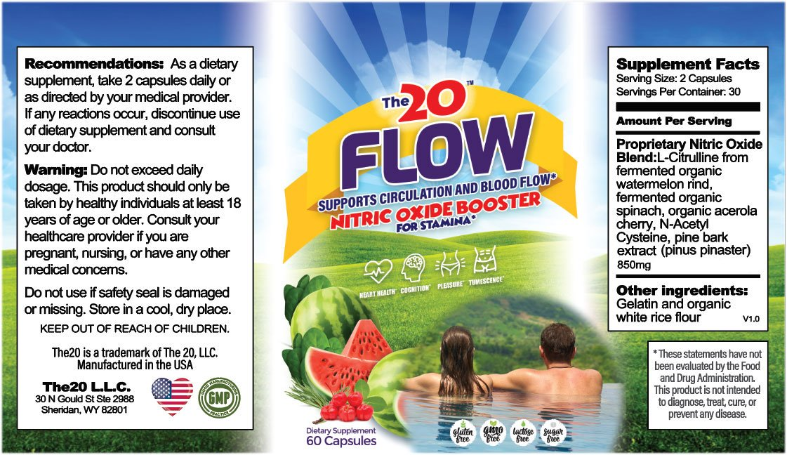 The 20 Flow Nitric Oxide Booster Ingredients Label