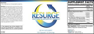Resurge Ingredients Label