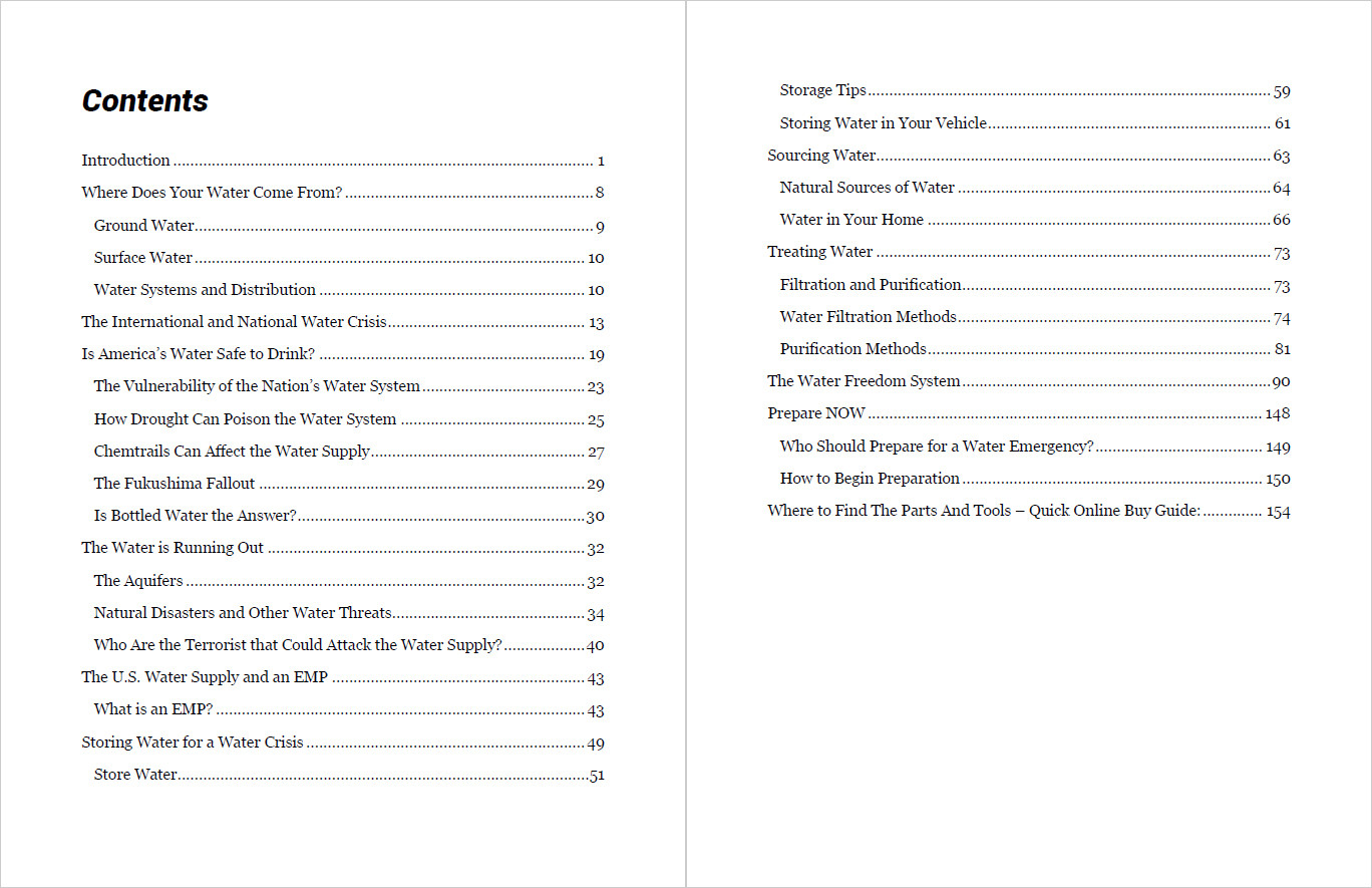 Water Freedom System Table Of Contents