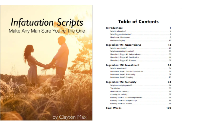 Infatuation Scripts Table Of Contents