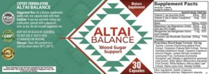 Altai Balance Ingredients Label