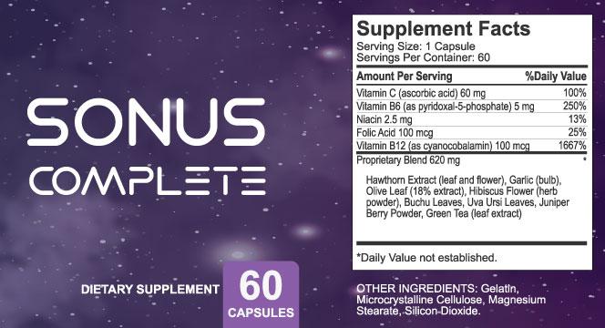 Sonus Complete Ingredients Label