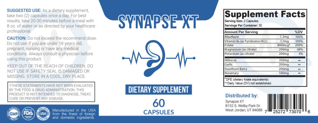 Synapse XT Ingredients Label