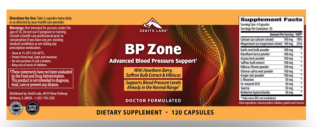 BP Zone Ingredients Label