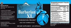Barbarian XL Ingredients Label