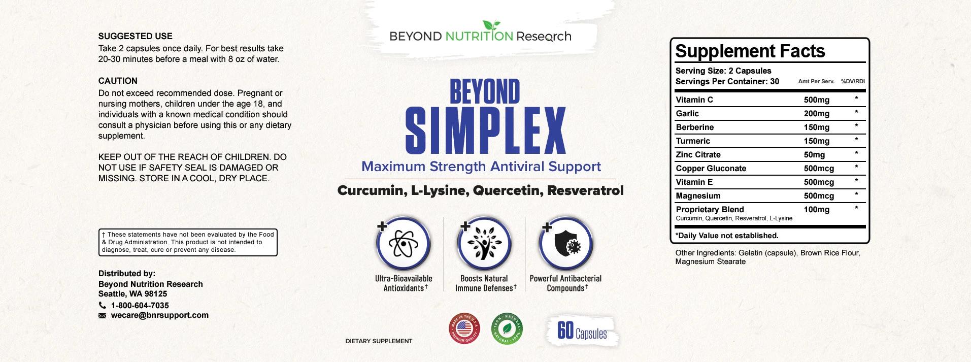 Beyond Simplex Ingredients Label