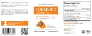 Curcumin180 Ingredients Label
