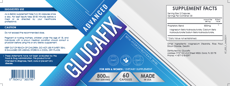 GlucaFix Ingredients Label