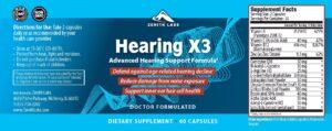 Hearing X3 Ingredients Label