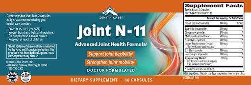 Joint N-11 Ingredients Label