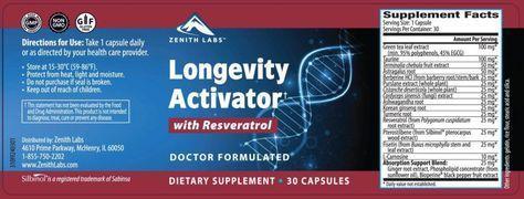 Longevity Activator Ingredients Label