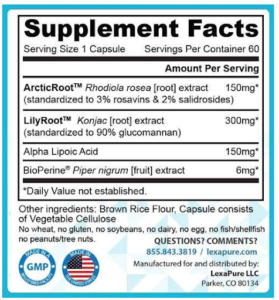 LumaSlim Ingredients Label