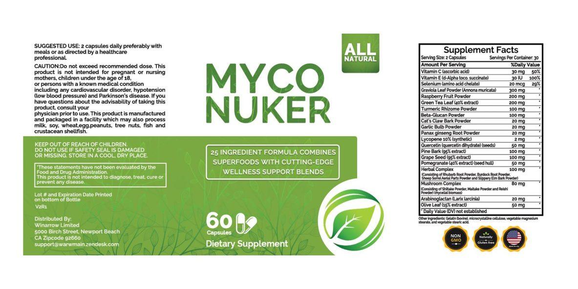 Myco Nuker Ingredients Label