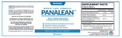 Panalean ingredients label