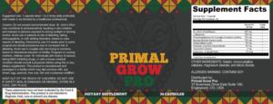 Primal Grow Ingredients Label