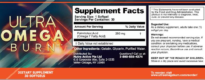 Ultra Omega Burn Ingredients Label