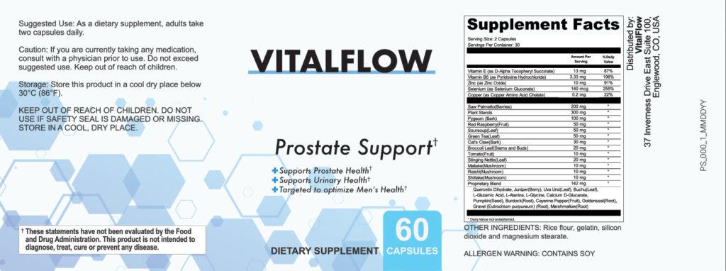 VitalFlow Ingredients Label