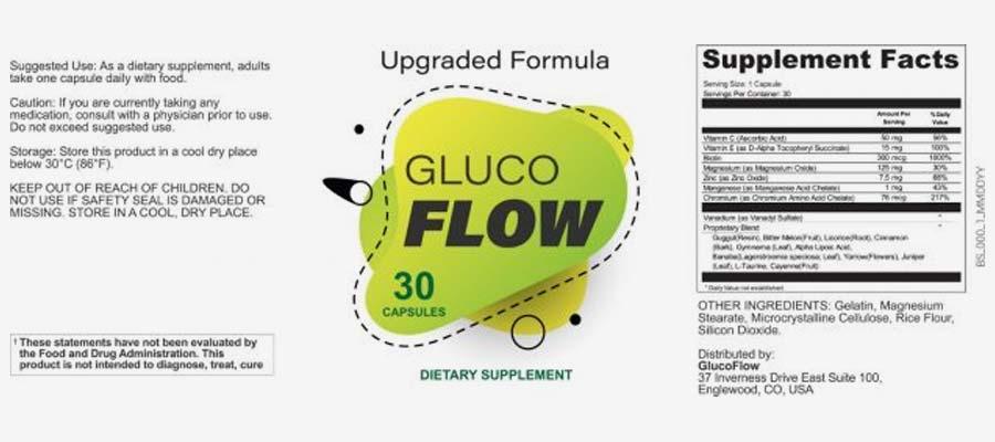 glucoflow ingredients label