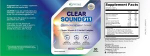 Clear Sound 911 Ingredients Label