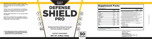Defense Shield Pro Ingredients Label