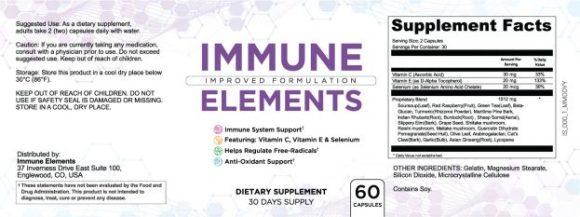 Immune Elements Ingredients Label