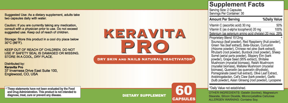 Keravita Pro Ingredients Label