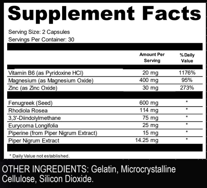 Liberator X2 Ingredients Label