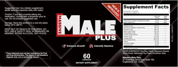 Massive Male Plus Ingredients Label