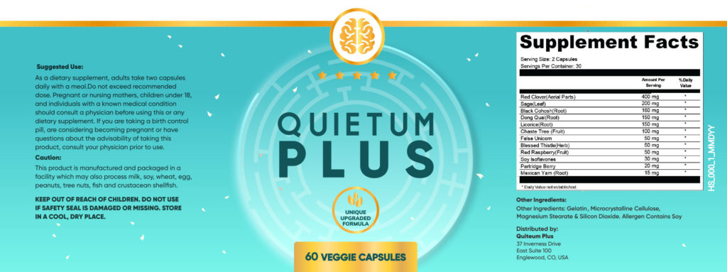 Quietum Plus Ingredients Label