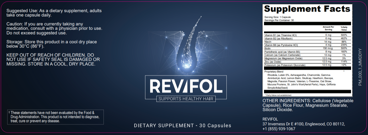 Revifol Hair Loss Ingredients Label