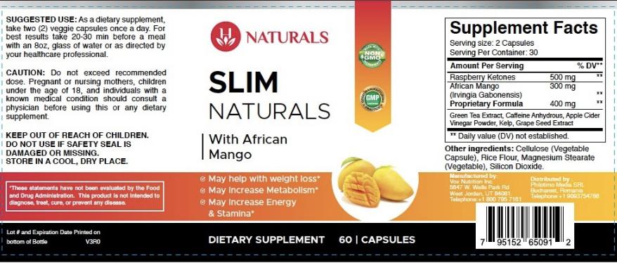 Slim Naturals Ingredients Label
