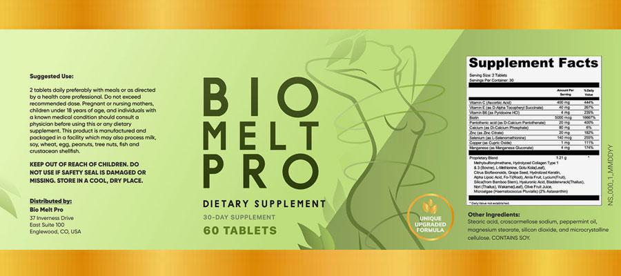 BioMelt Pro Ingredients Label