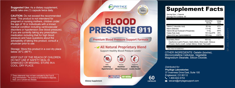 Blood Pressure 911 Ingredients Label