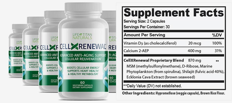 CellXRenewal Ingredients Label