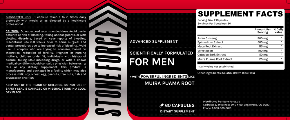 Stoneforce Ingredients Label