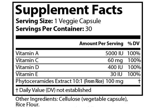 Ageless Ingredients Label
