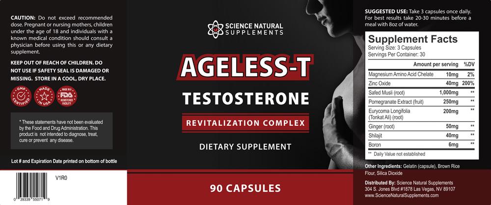 Ageless-T Testosterone Ingredients Label