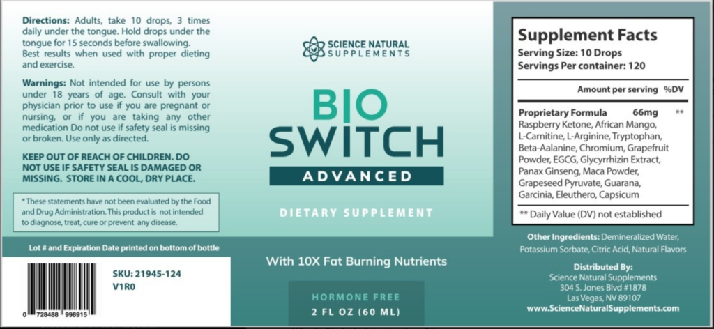 BioSwitch Advanced Ingredients Label
