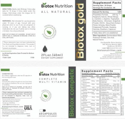 Biotox Gold Ingredients Label