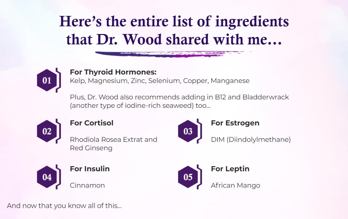 Hormonal Harmony HB-5 Ingredients Label
