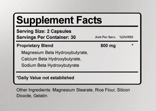 Keto-T911 Ingredients Label