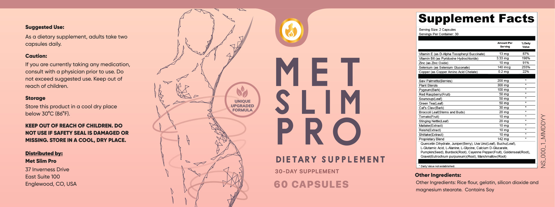 MetSlim Pro Ingredients Label